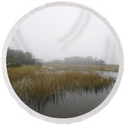 Fog Over The Marsh Round Beach Towel