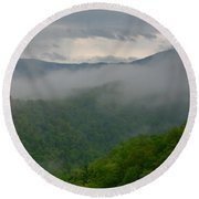 Fog Over The Smokies Round Beach Towel