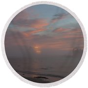 Fog Rolling In Round Beach Towel