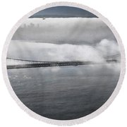 Fog Shrouded City Round Beach Towel