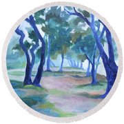 Fog Under The Oaks Round Beach Towel