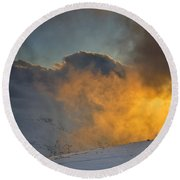 Foggy At Sunset 3000 Meters Round Beach Towel