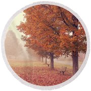 Foggy Autumn Morning Etna New Hampshire Round Beach Towel