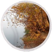 Foggy Autumn Riverbank Round Beach Towel
