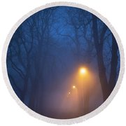 Foggy Avenue Of Trees With Path At Night No People Round Beach Towel