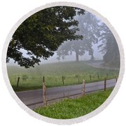 Foggy Country Lane Round Beach Towel