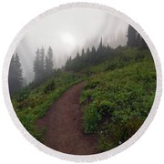 Foggy Crest Trail Round Beach Towel by Mike  Dawson