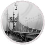 Foggy Day In Budapest Round Beach Towel
