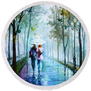 Foggy Day New Round Beach Towel by Leonid Afremov