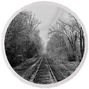 Foggy Ending In Black And White Round Beach Towel