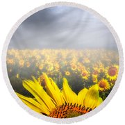 Foggy Field Of Sunflowers Round Beach Towel