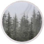 Foggy Forest Retro Series. Round Beach Towel