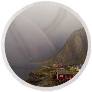Foggy Hamnoy Rorbu Village Round Beach Towel