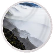 Foggy Hillside Round Beach Towel