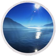 Foggy Lake With Sun Round Beach Towel