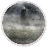 Foggy Landscape With Dark Tower Round Beach Towel