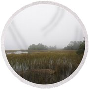 Foggy Marsh Round Beach Towel