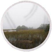 Foggy Marsh Round Beach Towel