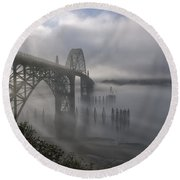 Foggy Morning In Newport Round Beach Towel