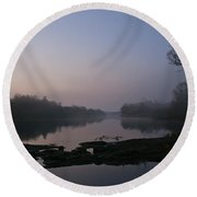 Foggy Morning On The River Round Beach Towel