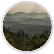 Foggy Morning Over Waterpocket Fold Round Beach Towel
