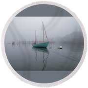 Foggy Morning Pepperrell Cove Round Beach Towel