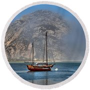 Foggy Morrow Bay Round Beach Towel