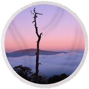 Foggy Mountain Morning Round Beach Towel