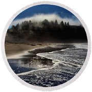 Foggy Pacific Reflections Round Beach Towel