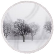 Foggy Park With Winter Trees Round Beach Towel