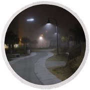 Foggy Path Round Beach Towel by Nelson Watkins