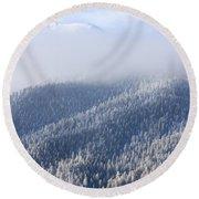 Foggy Peak Round Beach Towel