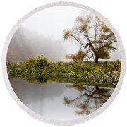 Foggy Reflections Landscape Round Beach Towel