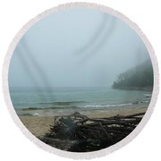 Foggy Shoreline Round Beach Towel