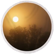 Foggy Sunrise 6 Round Beach Towel
