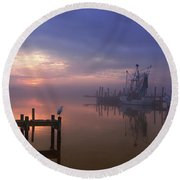 Foggy Sunset Over Swansboro Round Beach Towel by Benanne Stiens