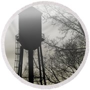 Foggy Tower Silhouette Round Beach Towel