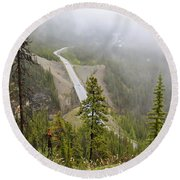 Foggy View From Icefields Parkway Round Beach Towel