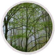 Foggy Woods Round Beach Towel