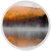 Foilage In The Fog Round Beach Towel