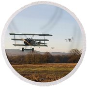Fokker Dr1 - Day's End Round Beach Towel by Pat Speirs