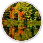 Foliage In New Hampshire Round Beach Towel