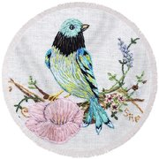 Folk Art Bird Embroidery Illustration Round Beach Towel