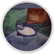 Folk Art Cat Round Beach Towel