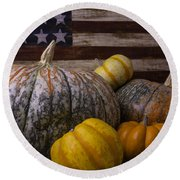 Folk Art Flag And Pumpkins Round Beach Towel