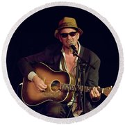 Folk Singer Greg Brown Round Beach Towel