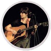 Folk Singer Pieta Brown Round Beach Towel