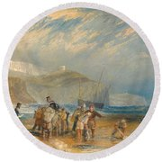 Folkestone Harbour And Coast To Dover Round Beach Towel