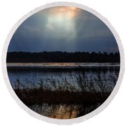 Follow The Light Round Beach Towel