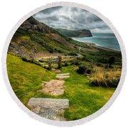 Follow The Path Round Beach Towel by Adrian Evans